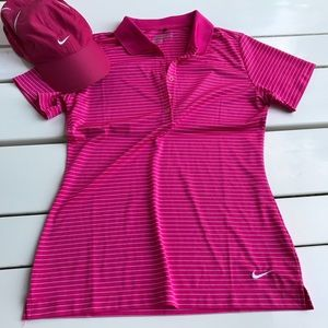 Nike golf pink white stripe polo button up dri fit